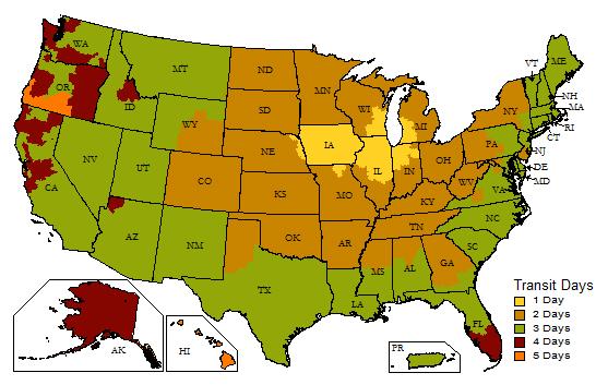 Dultmeier Sales UPS Ground Shipping Map Davenport IA