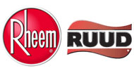RHEEM gas-fired and electric water heaters, storage tanks, duct & rail heating systems