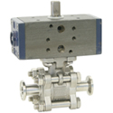 Stainless 3 Piece Air Actuated Sanitary Ball Valves